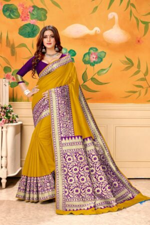 Alluring Mustard Banrasi Kota Silk Wedding Wear Designer Fancy Saree Online