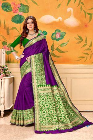Exquisite Purple & Green Banarasi Kota Silk Wedding Wear Designer Fancy Saree Online