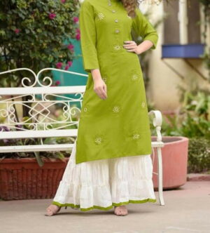 Bootylicious Green Rayon With Embroidered Ready Made Plazo Kurti