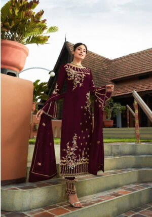 Imposing Maroon Georgette With Embroidered Work Plazo New Salwar suit Design Online
