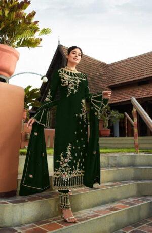 Breathtaking Dark Green Georgette With Embroidered Work Plazo New Salwar suit Design Online