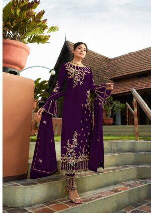 Mind-Blowing Wine Colored Georgette With Embroidered Work Plazo New Salwar suit Design Online