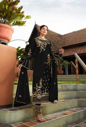 Fabulous Black Georgette With Embroidered Work Plazo New Salwar suit Design Online