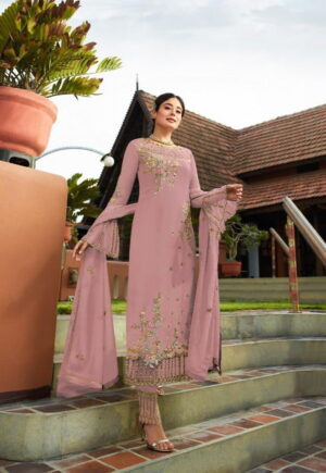 Fab Light Pink Georgette With Embroidered Work Plazo New Salwar suit Design Online