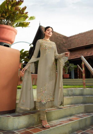 Super Grey Georgette With Embroidered Work Plazo New Salwar suit Design Online