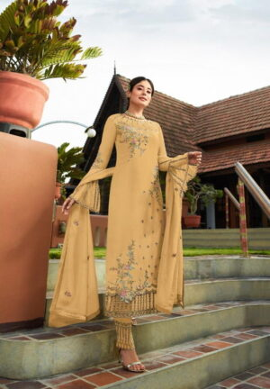 Tremendous Light Mustard Georgette With Embroidered Work Plazo New Salwar suit Design Online