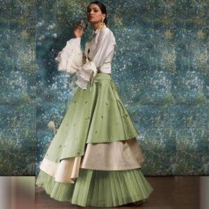 Sensational Mint Green Taffeta Silk Raffle New Lehenga Choli Design Online