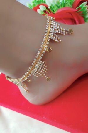 Impressive White & Yellow Diamond Imitation Anklet Set Online