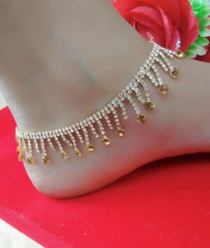 Outstanding White & Yellow American Diamond Artificial Anklet Set Online