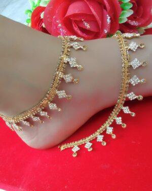 Marvellous White Diamond Golden Imitation Anklet Set Online