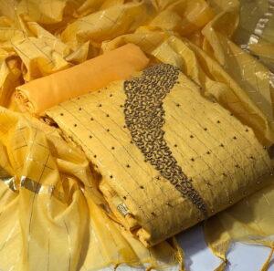 Glorious Yellow Jacquard Chanderi Chex With Zari Work Salwar Suit