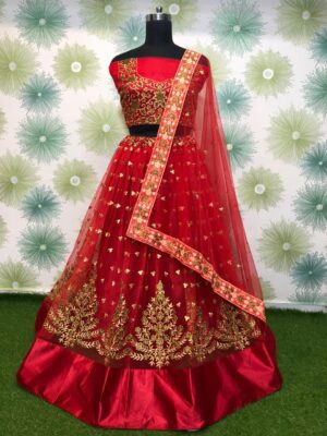 Knockout Red Net With Zari Embroidered Work New Lehenga Choli Design Online
