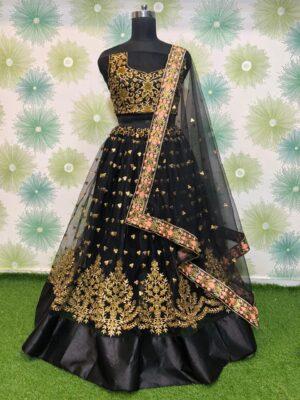 Smashing Black Net With Zari Embroidered Work New Lehenga Choli Design Online