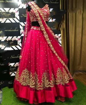 Beauteous Rani Net With Zari Embroidered Work New Lehenga Choli Design Online