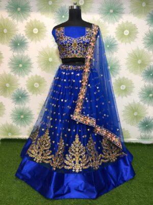Pulchritudinous Royal Blue Net With Embroidered Zari Work New Lehenga Choli Design Online