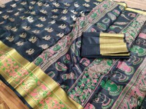 Alluring Black Poly Silk With Hand Foil Print Designer Fancy Saree Online