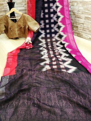 Bootylicious Multi Colored Cotton Linen Printed Zari Border Designer Fancy Saree Online