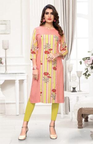 Charming Peach Rayon Printed Party Wear Kurti Design