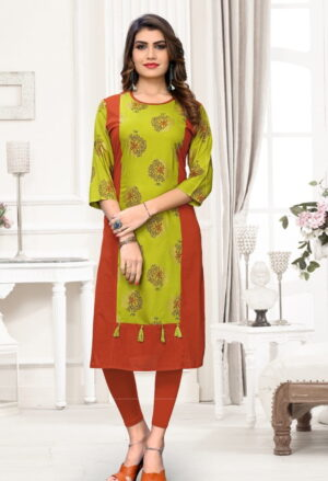 Alluring Red & Parrot Cotton Printed Ready Made Long Kurti Design
