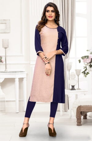 Beauteous Peach & Navy Blue Cotton Full Stitched Printed Long Kurti Design