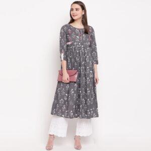 Extraordinary Grey Designer Cotton Ready Made Printed Long Kurti Design