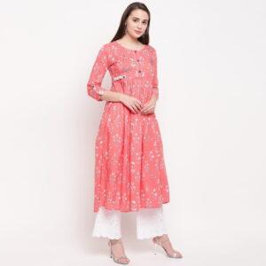 Amazing Pink Designer Cotton Ready Made Printed Long Kurti Design