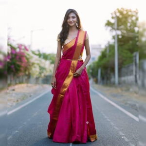 Bewitching Rani Pink Designer Banarasi Silk Printed Lehenga Choli