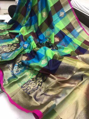 Amazing Green & Multi Banarasi Silk Weaving Handloom Rich Pallu Designer Saree Online