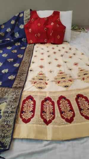 Amazeballs Red Colored Brocade Silk Designer Lehenga Choli