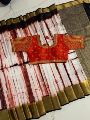 Extraordinary Brown & Orange Silk With Golden Zari Patta Designer Saree Online & Ready Made Blouse