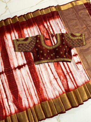 Amazing Brown Tussar Silk With Zari Designer Saree Online & Ready Made Blouse