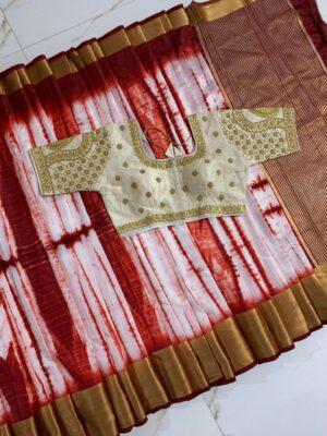 Astonishing Maroon & Off White Silk Golden Zari Designer Saree Online & Ready Made Blouse