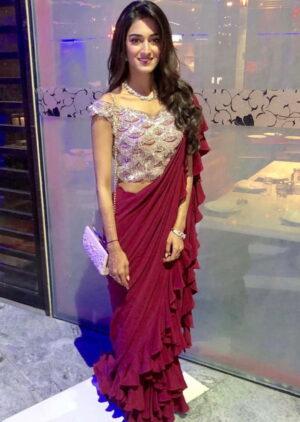 Amazeballs Maroon Georgette Ruffle With Embroidered Work fancy designer saree