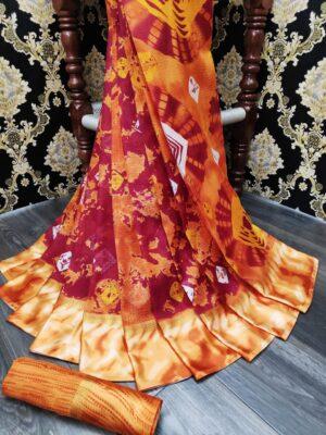 Glorious Orange Cotton With Batik Printed Satin Patta fancy designer saree