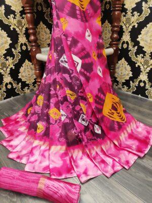 Captivating Pink Cotton With Batik Printed Satin Patta fancy designer saree