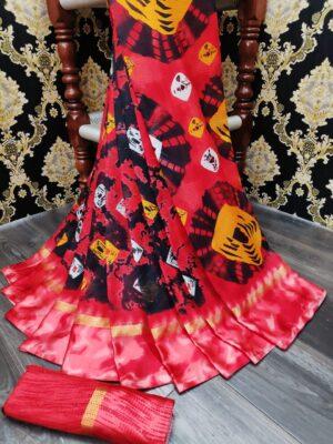 Bewitching Red Cotton Batik Printed With Satin Patta fancy designer saree