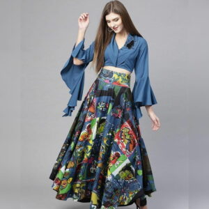 Charming Grey Blue Twill Digital Printed Lehenga Choli Design Online