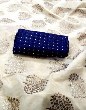Breathtaking Off White & Royal Blue Chanderi Silk Denim Foil Work fancy designer saree