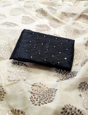 Mind-Boggling Off White & Black Chanderi Silk With Denim Foil Work fancy designer saree