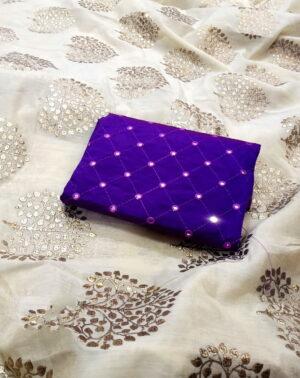 Mind-Blowing Off White & Purple Chanderi Silk With Denim Foil Work fancy designer saree
