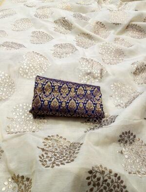 Fabulous Off White Chanderi Silk With Denim Foil Work fancy designer saree