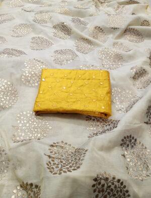 Fab Off White & Yellow Chanderi Silk With Denim Foil Work fancy designer saree