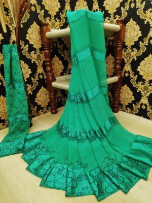 Beauteous Rama Green Satin Printed Patta fancy designer saree