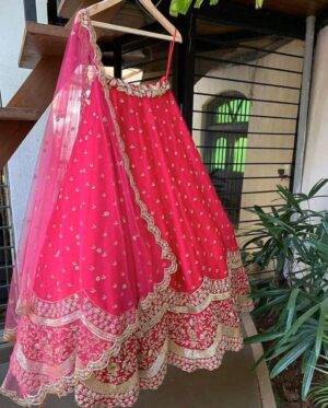 Mind-Blowing Pink Georgette With Embroidered Work Lehenga Choli Design Online