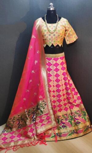 Fab Yellow & Rani Banarasi Weaving With Padded Blouse Lehenga Choli Design Online