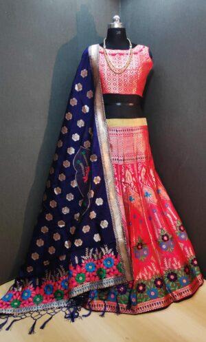 Tremendous Red Banarasi Weaving Padded Blouse Lehenga Choli Design Online