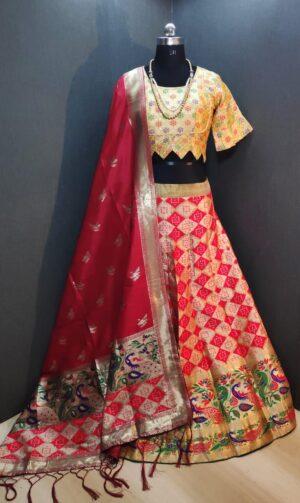 Beautiful Yellow & Pink Banarasi Weaving Padded Blouse Lehenga Choli Design Online