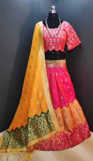 Attractive Pink & Mustard Banarasi Weaving Padded Blouse Lehenga Choli Design Online