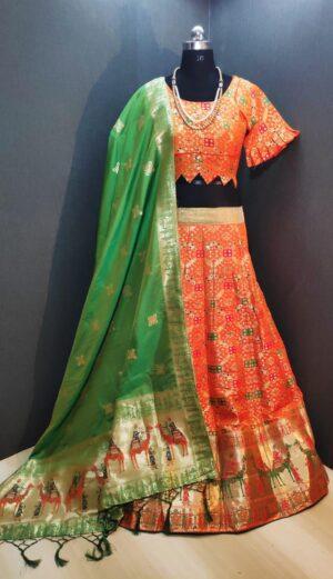Lovely Orange & Green Banarasi Weaving Padded Blouse Lehenga Choli Design Online