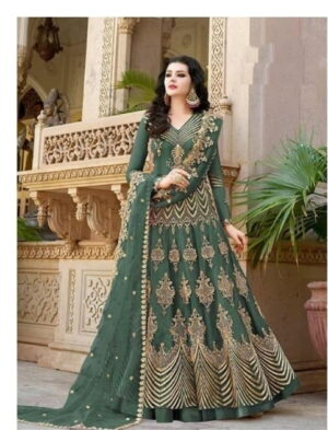 Comely Green Net With Diamond Embroidered Work Anarkali New Salwar suit design online